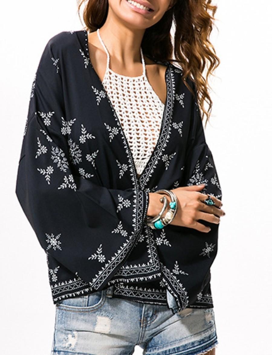 Women's Blouse Shirt Floral Flower Long Sleeve V Neck Tops Basic Top Black