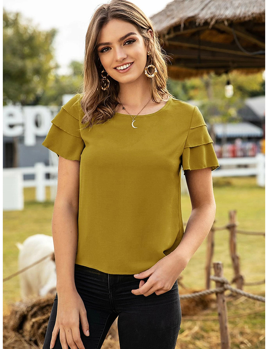 Women's Blouse Shirt Solid Colored Round Neck Tops Basic Top Blue Red Yellow