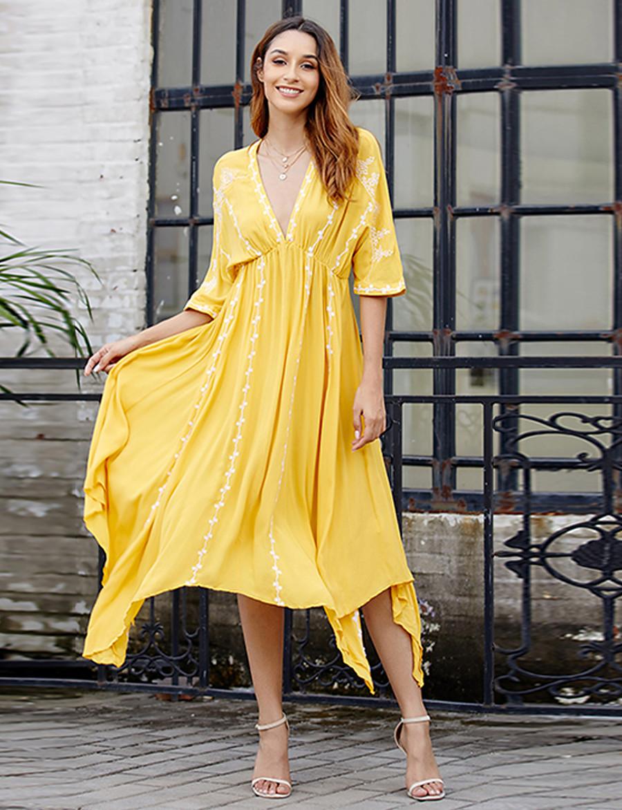 Women's Swing Dress Maxi long Dress - Half Sleeve Geometric Summer Casual 2020 Yellow S M L XL XXL