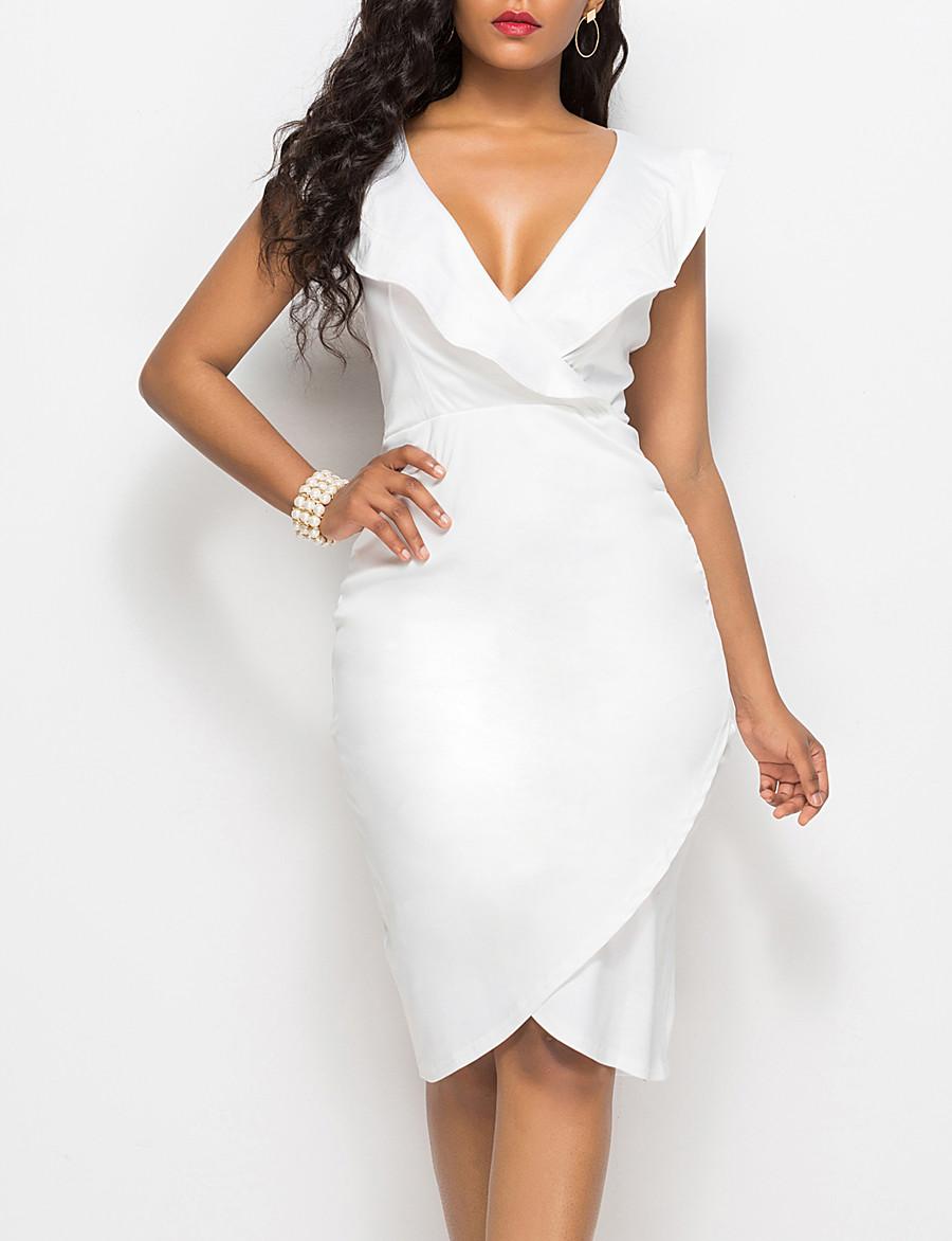 Women's Sheath Dress Knee Length Dress - Sleeveless Solid Color Ruffle Summer V Neck Elegant Sexy Slim 2020 White Black Yellow Wine Fuchsia Royal Blue Light Blue S M L XL XXL 3XL