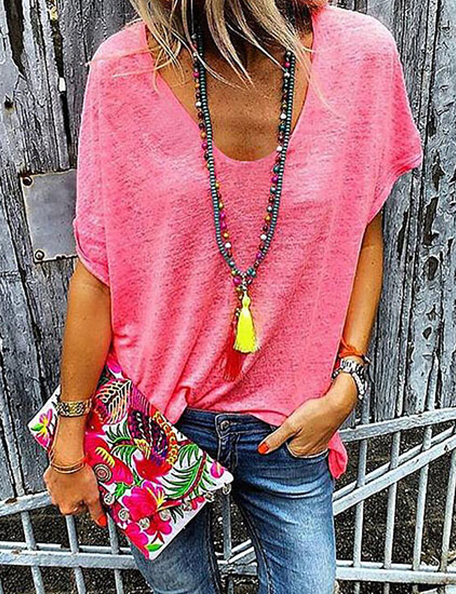 Women's Solid Colored Loose T-shirt Daily Casual V Neck White / Black / Blue / Red / Yellow / Gray