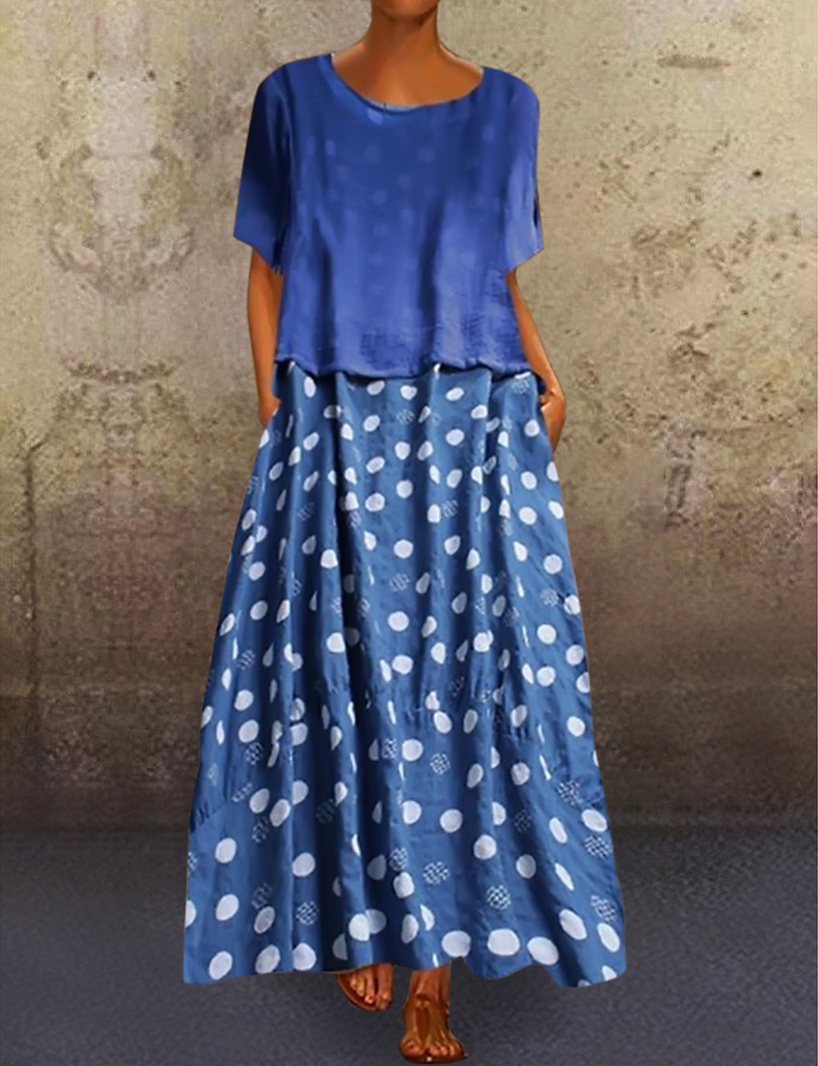 Women's Loose Maxi long Dress - Short Sleeve Polka Dot Print Spring & Summer Plus Size Abaya Holiday Loose 2020 Black Blue L XL XXL 3XL 4XL 5XL