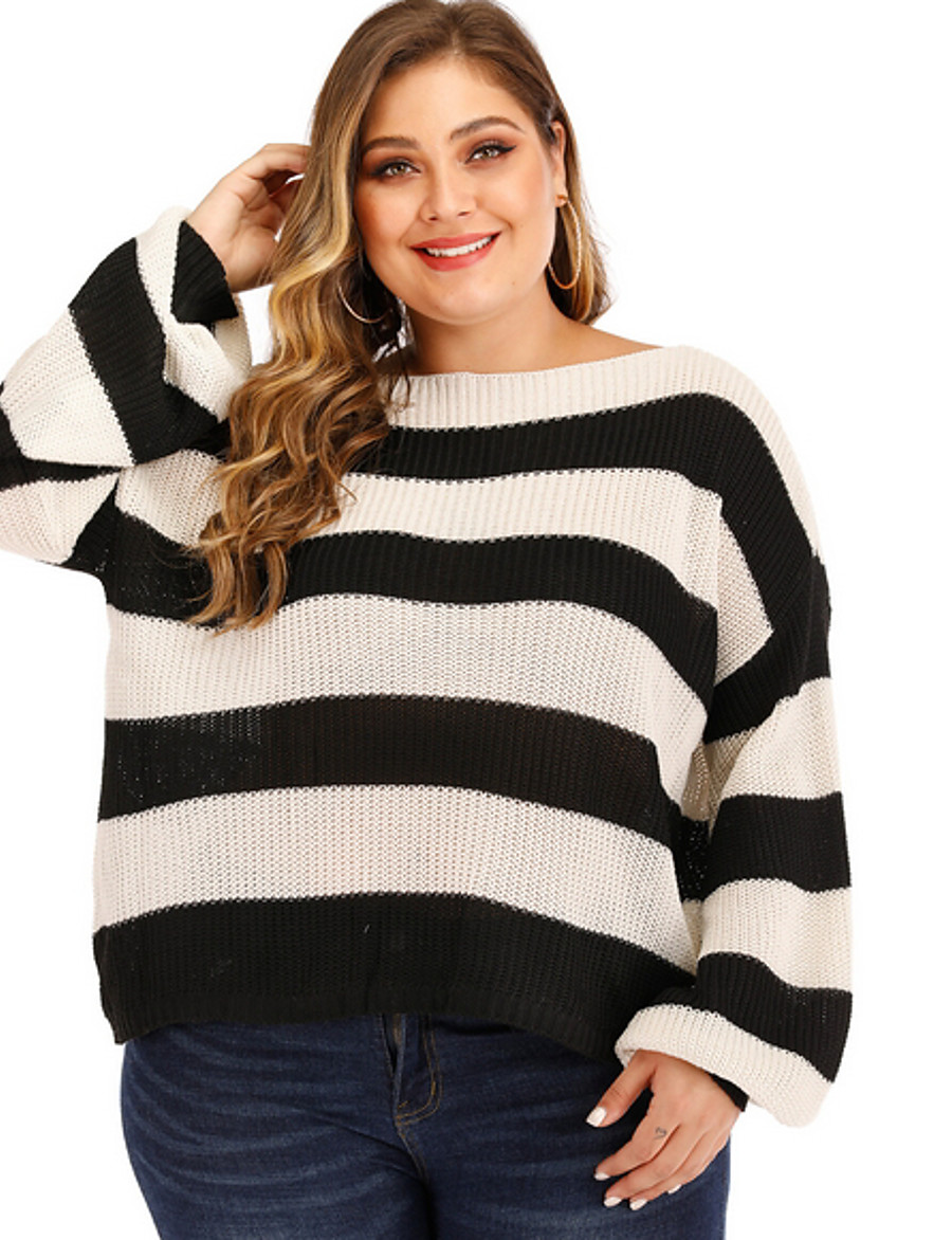 Women's Striped Pullover Long Sleeve Plus Size Sweater Cardigans Round Neck White