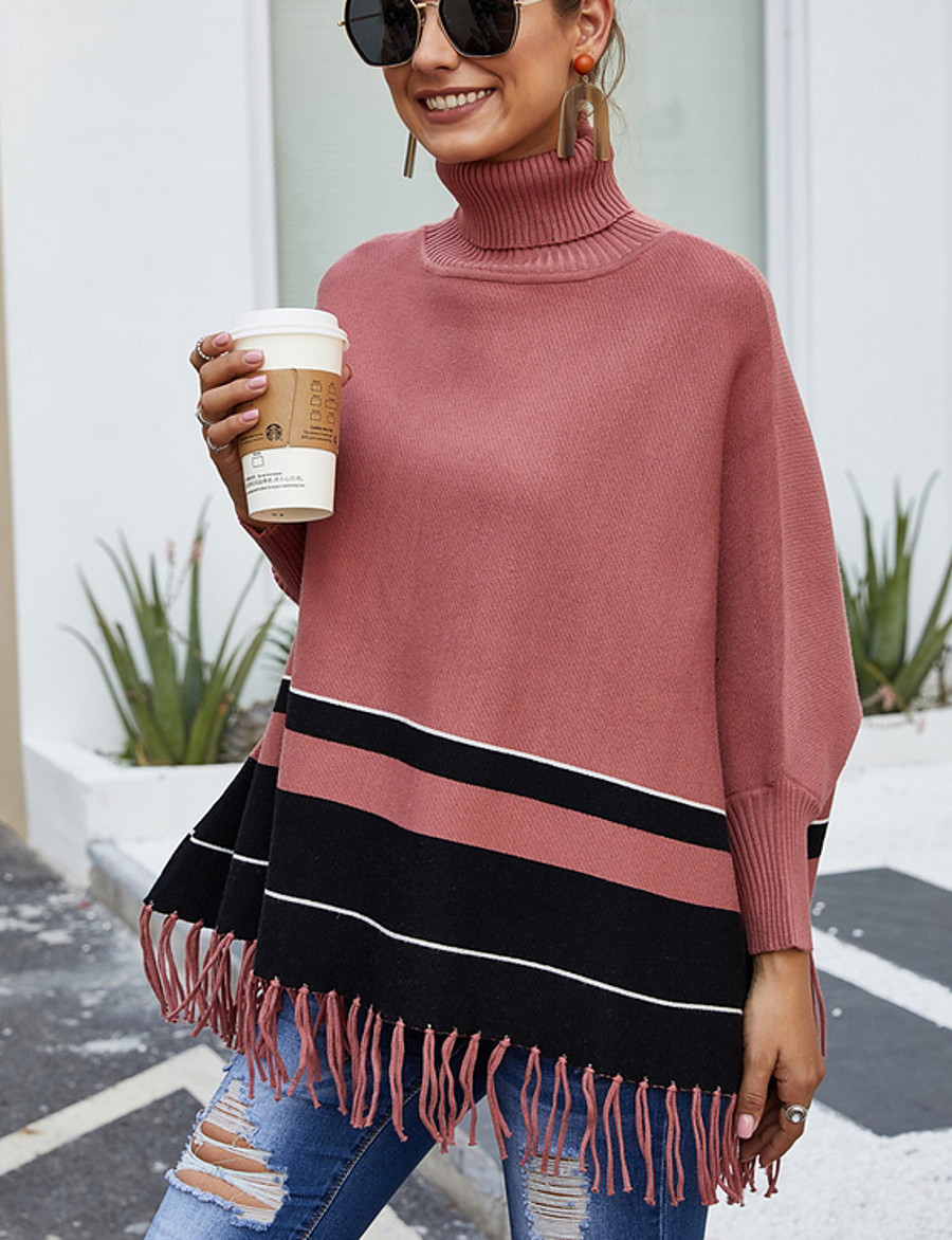 Women's Color Block Long Sleeve Pullover Sweater Jumper, Round Neck Fall Red One-Size