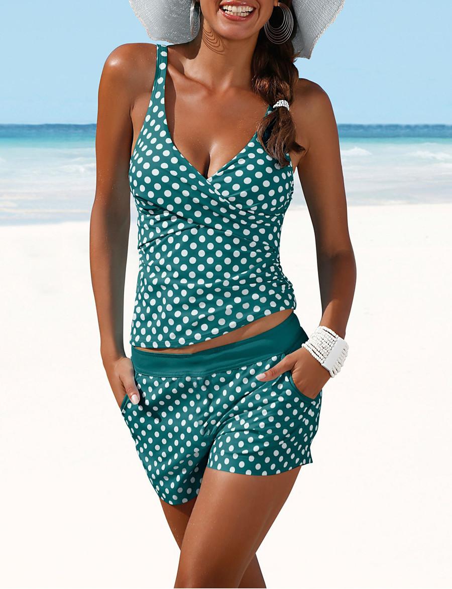 Women's Two Piece Tankini Swimsuit Slim Polka Dot Swimwear Bathing Suits White Black Navy Blue / Padded Bras