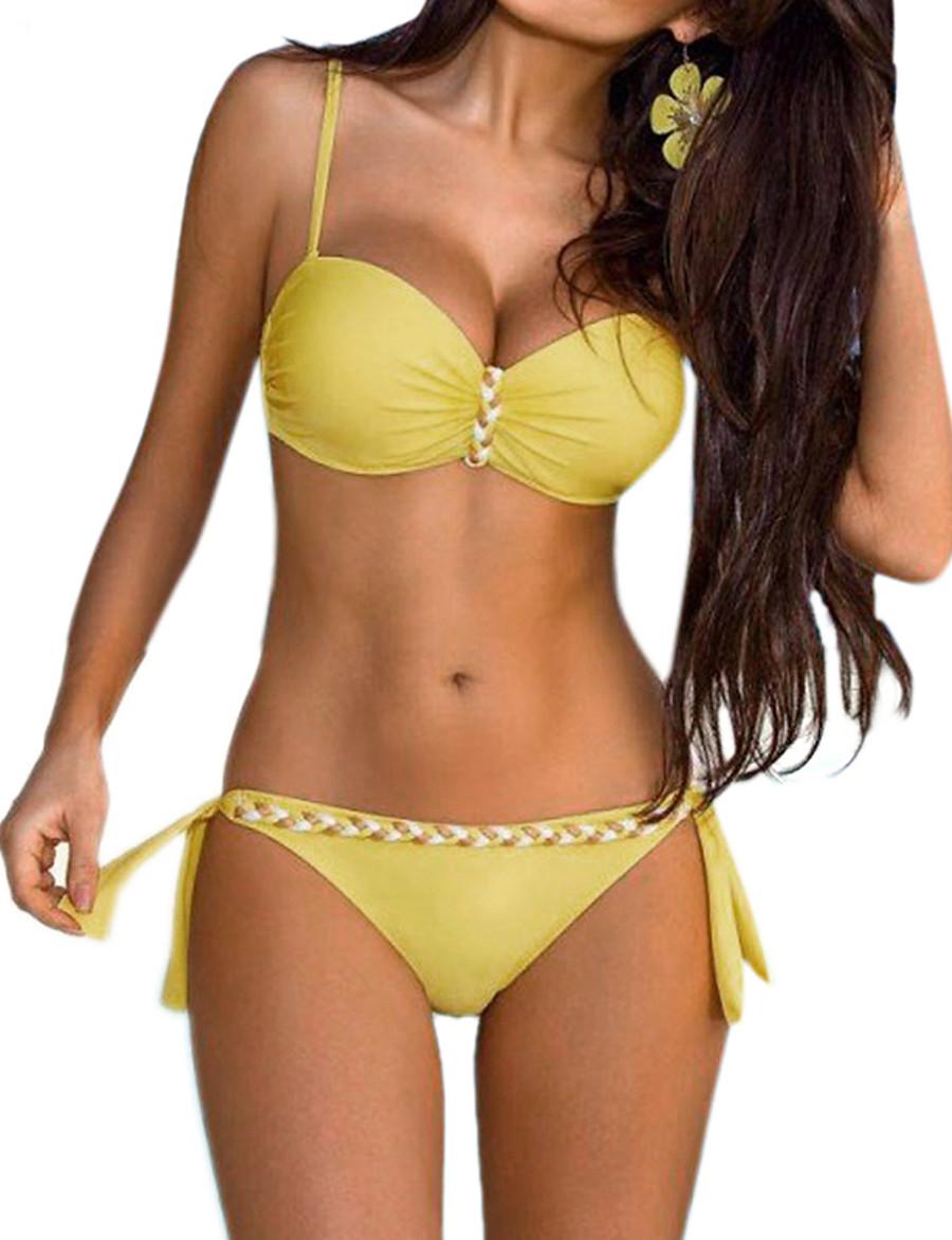 Women's Plus Size Halter Basic Tankini Sets Bikini Swimsuit Print Color Block Swimwear Bathing Suits Blue Yellow Fuchsia Orange