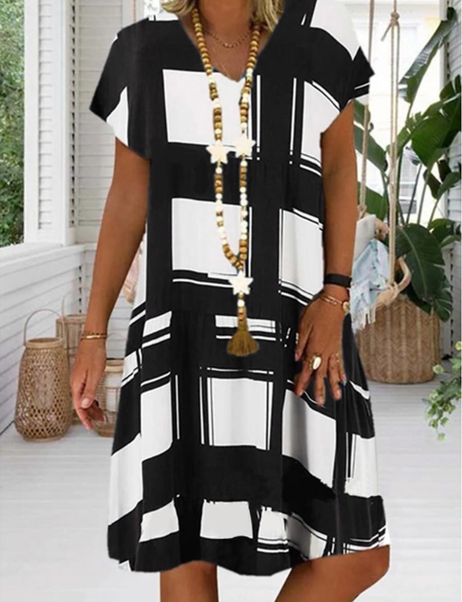 Women's Plus Size Sundress Knee Length Dress - Short Sleeve Geometric Print Summer V Neck Casual Vacation 2020 Black Red Royal Blue S M L XL XXL XXXL XXXXL XXXXXL