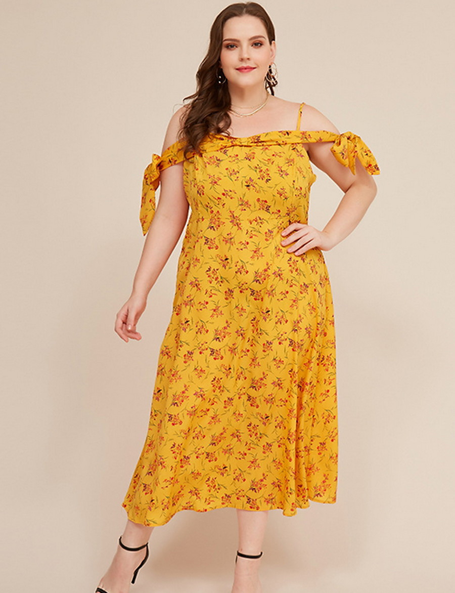 Women's Sheath Dress Maxi long Dress - Short Sleeve Floral Summer Off Shoulder Plus Size Elegant Loose 2020 Yellow L XL XXL 3XL 4XL