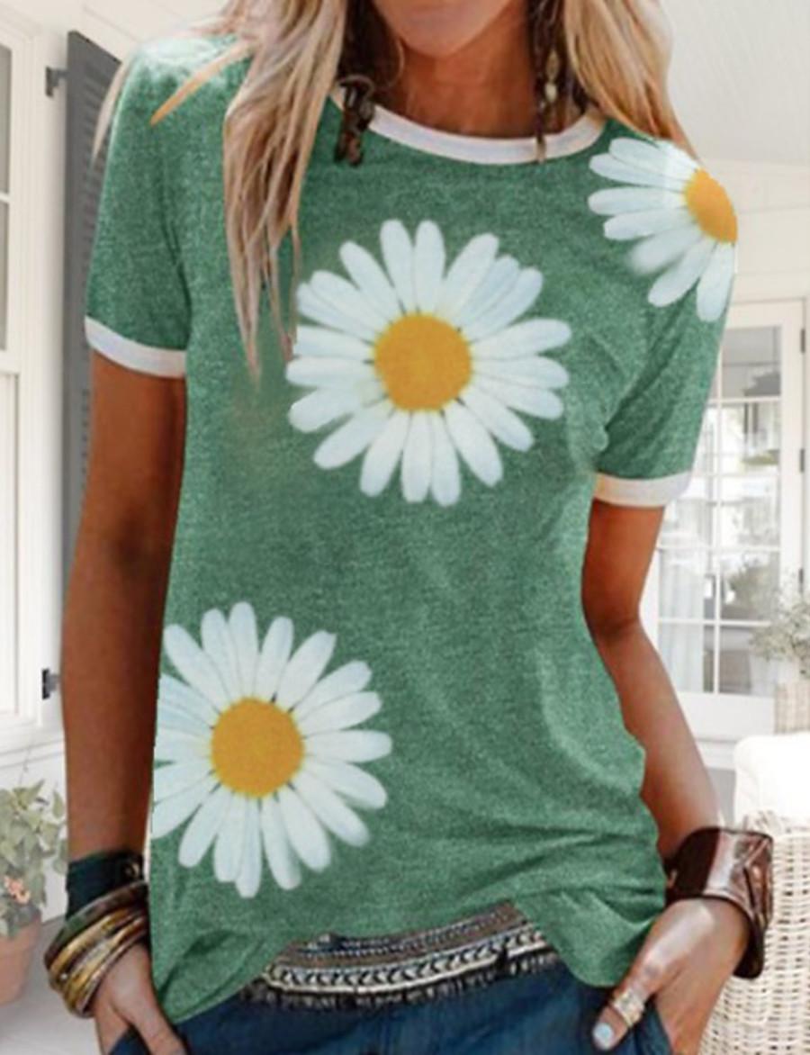 Women's T shirt Floral Flower Sunflower Round Neck Tops Cotton Blue Red Yellow