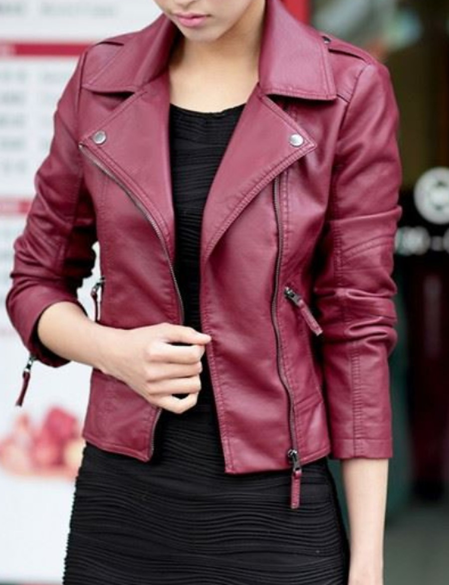 Women's Faux Leather Jacket Regular Solid Colored Daily Black Wine S M L XL