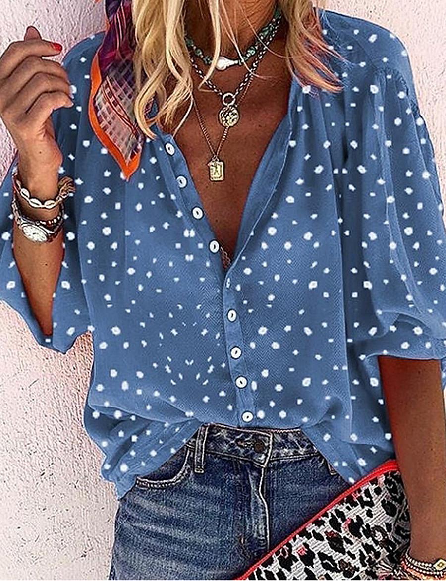 Women's Blouse Shirt Polka Dot Floral Flower Long Sleeve V Neck Tops Lantern Sleeve Basic Top White Blue Red