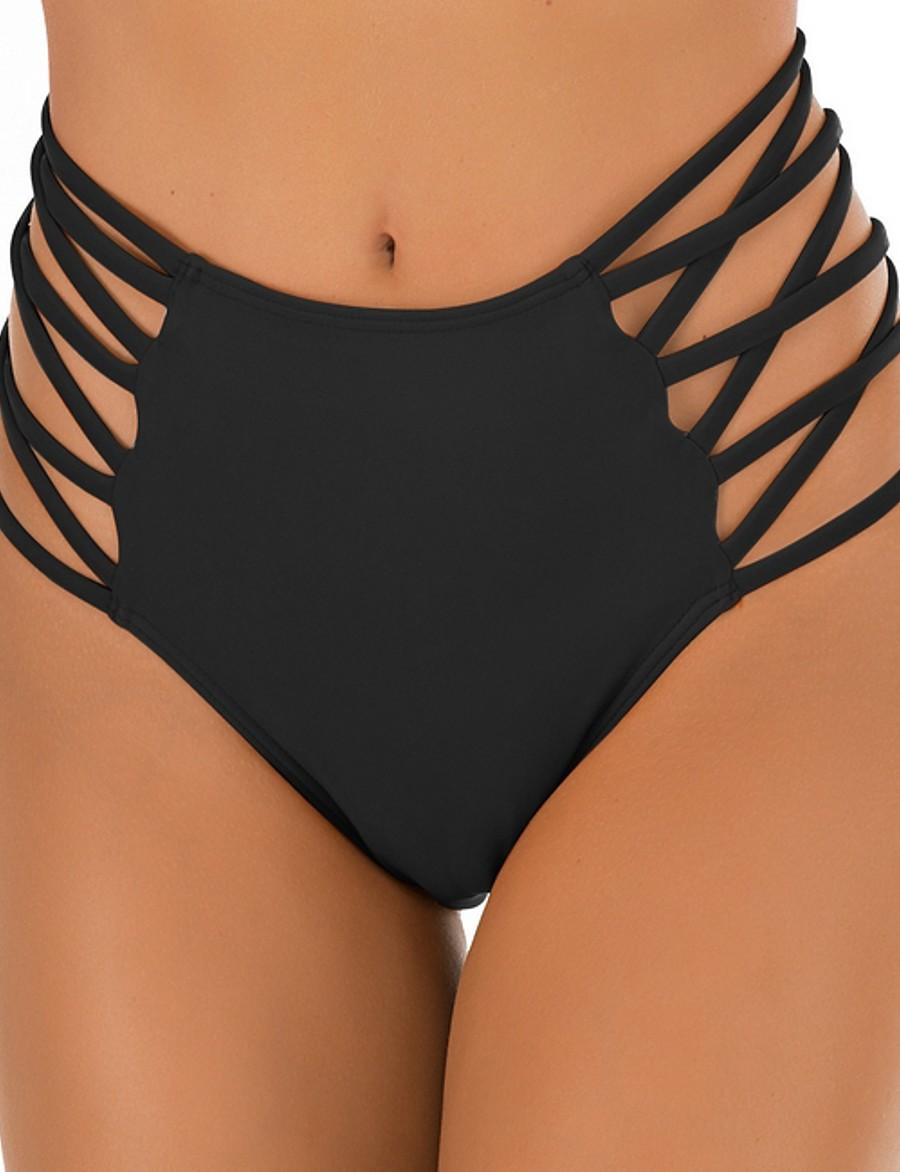 Women's Bikini Bottoms Swimsuit Solid Colored Swimwear Bathing Suits Black Red