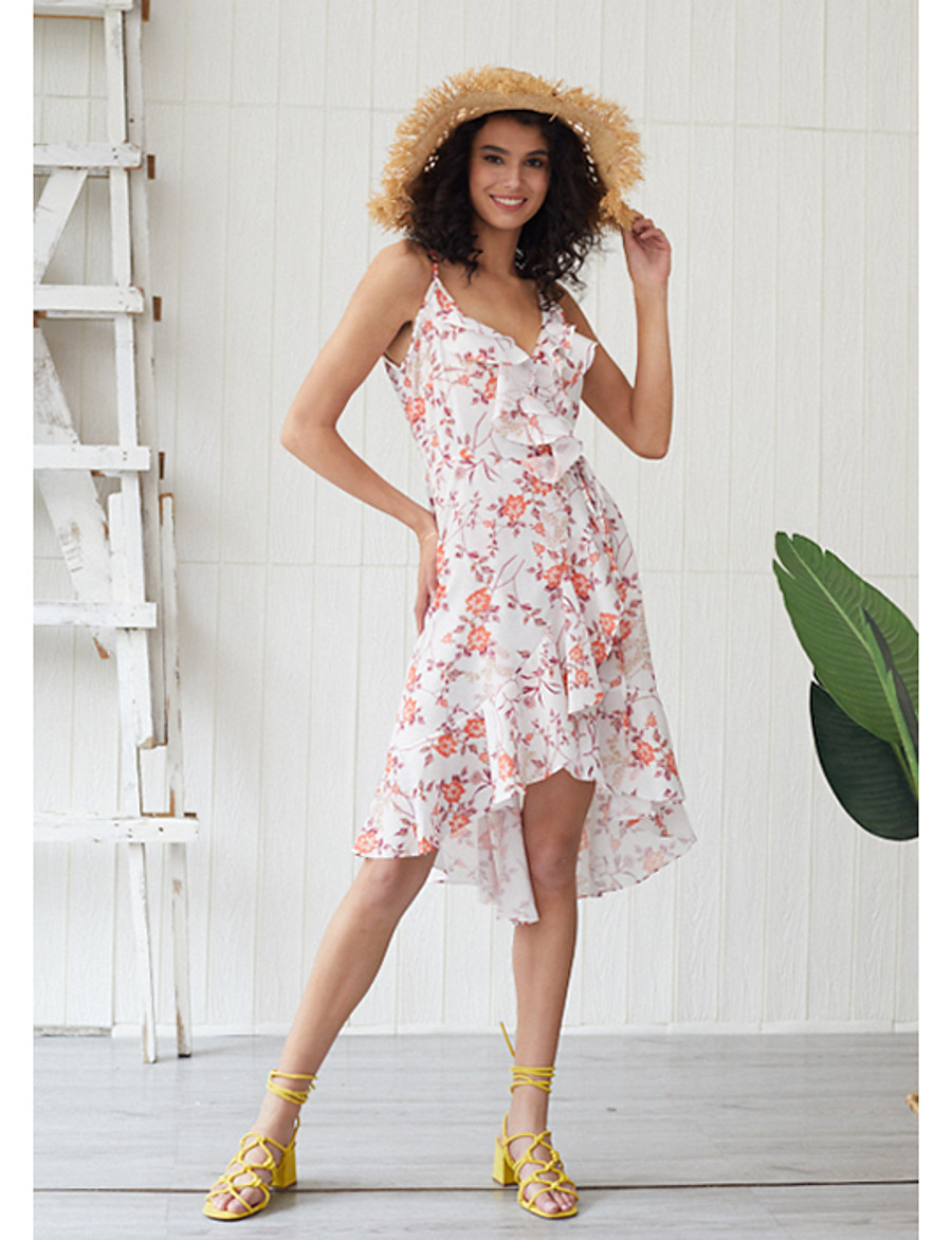 Women's Sundress Midi Dress - Sleeveless Floral Ruffle Summer V Neck Elegant Holiday Going out 2020 Blushing Pink XS S M L XL