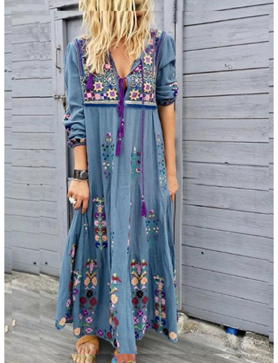 Women's Maxi long Dress - Long Sleeve Tribal Print Spring Summer Vacation Hot Boho vacation dresses Loose High Waist 2020 Red Brown Gray Light Blue S M L XL XXL 3XL 4XL 5XL
