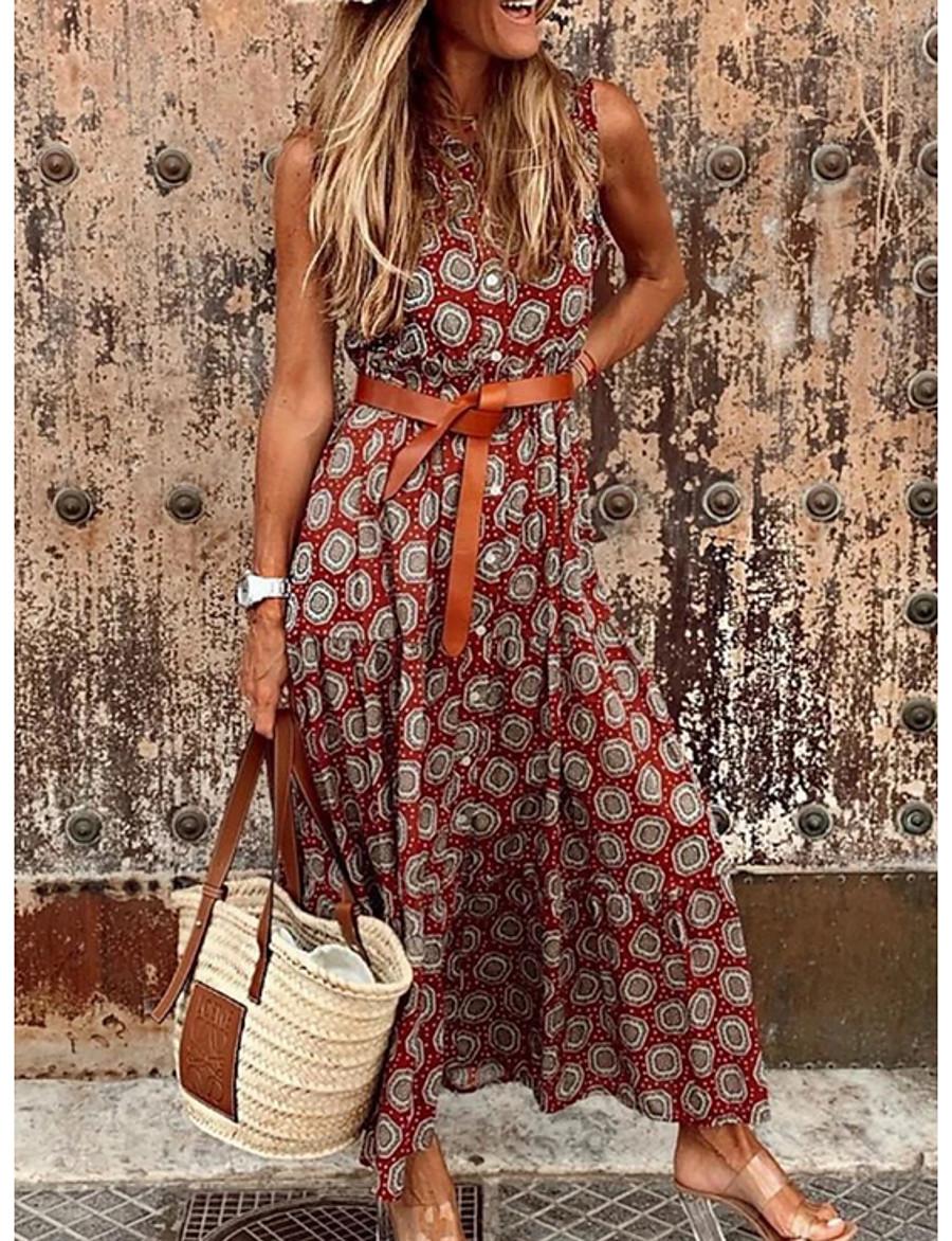 Women's A Line Dress Maxi long Dress Red Orange Gray Sleeveless Print Geometic Print Summer V Neck Hot Casual Boho 2021 S M L XL XXL / Holiday
