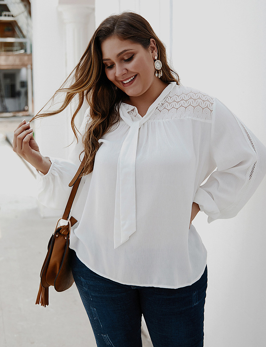 Women's Plus Size Blouse Shirt Solid Colored Long Sleeve Embroidered Round Neck Tops Loose Elegant Basic Top White