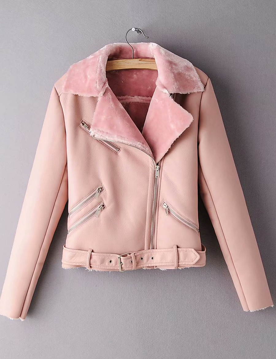 Women's Winter Faux Leather Jacket Short Solid Colored Daily Black Blushing Pink S M L XL / Slim