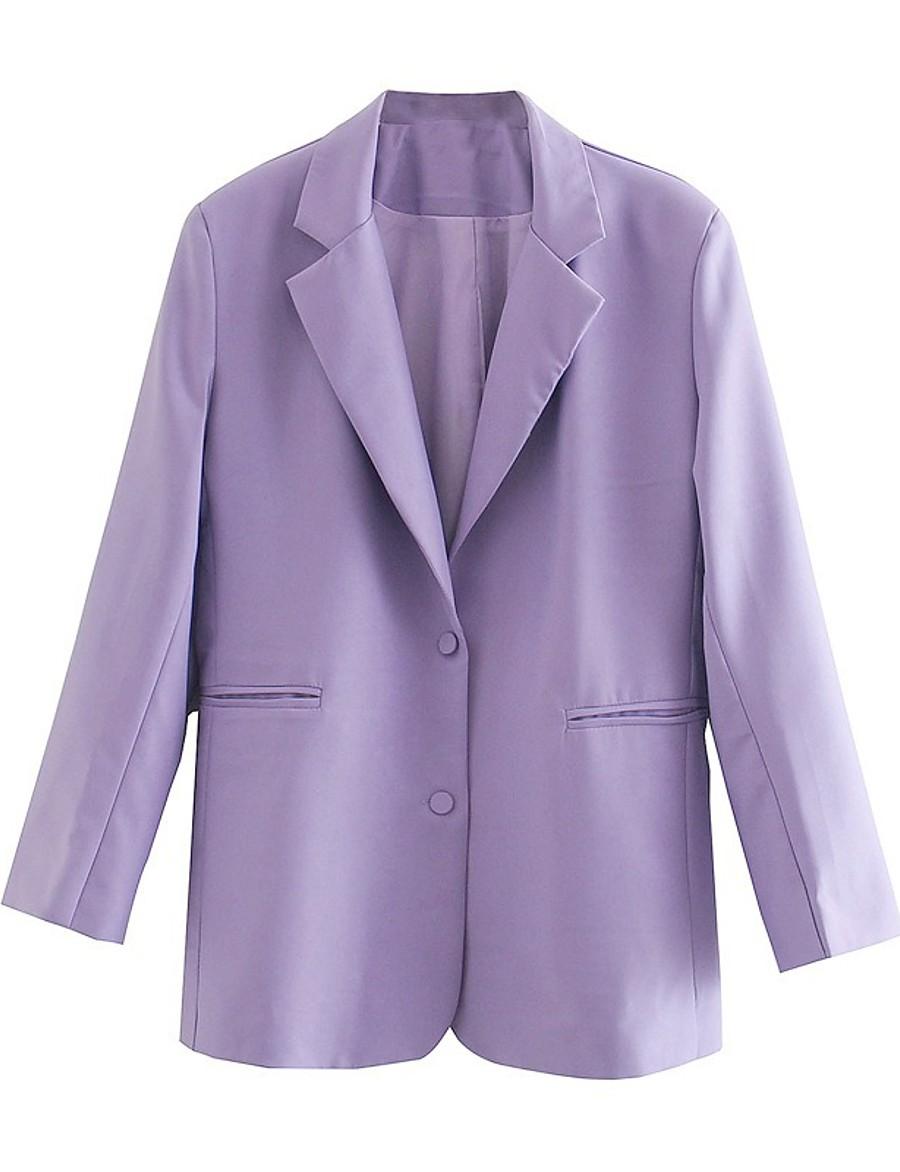 Women's Notch lapel collar Blazer Solid Colored Purple S / M / L