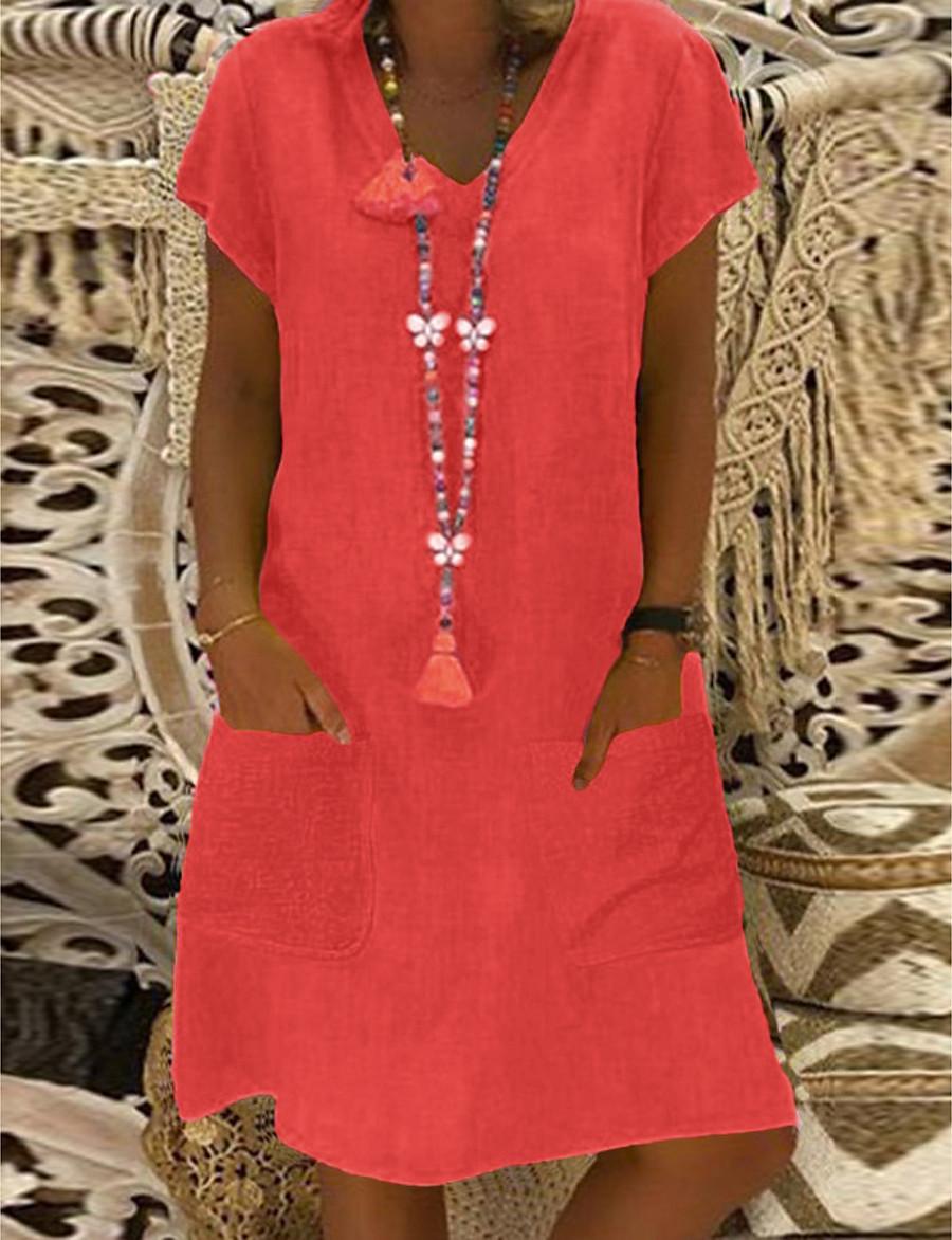 Women's Shift Dress Short Mini Dress - Short Sleeve Other Summer V Neck Plus Size Basic Hot Loose 2020 Black Yellow Blushing Pink Light Green Light Blue M L XL XXL 3XL 4XL 5XL