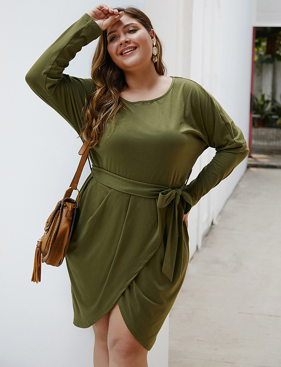 Women's A-Line Dress Knee Length Dress - Long Sleeve Solid Color Split Fall Winter Boat Neck Plus Size Casual Loose 2020 Army Green Navy Blue Gray XL XXL 3XL 4XL