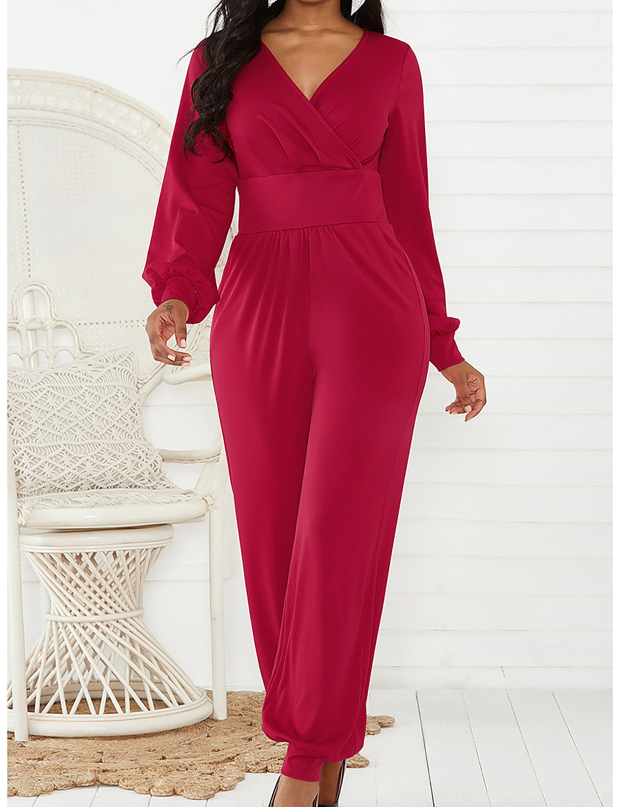Women's Basic V Neck Black Red Green Jumpsuit Solid Colored / Wide Leg