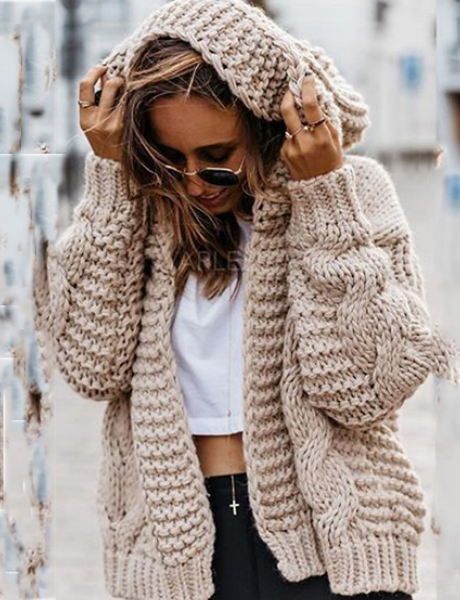 Women's Solid Colored Cardigan Long Sleeve Loose Oversized Sweater Cardigans Halter Neck Fall Beige