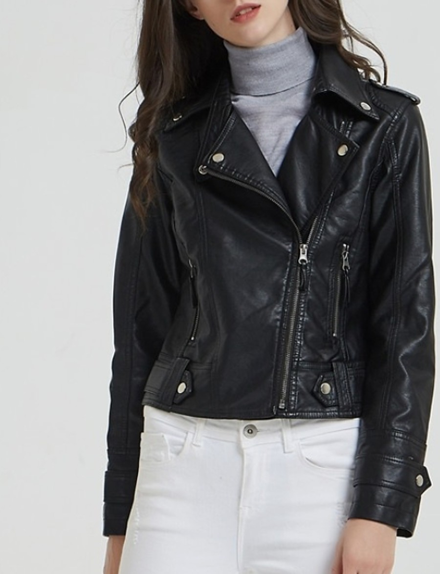 Women's Notch lapel collar Faux Leather Jacket Regular Solid Colored Daily Black M L XL XXL