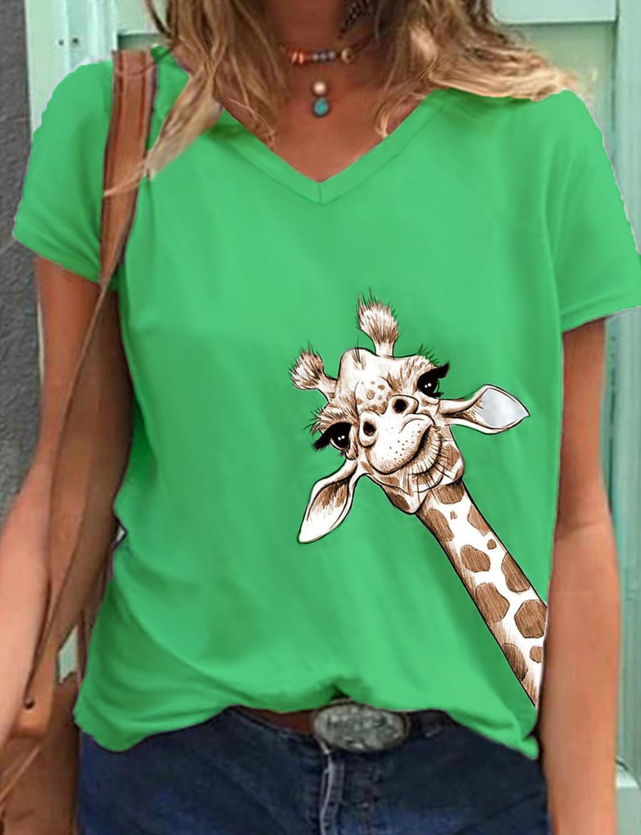 Women's T-shirt Animal V Neck Tops Cotton Basic Top Blue Green Gray