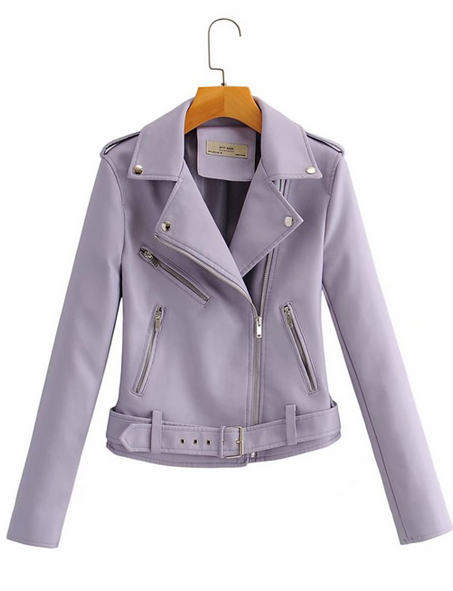 Women's Faux Leather Jacket Short Solid Colored Daily Black Purple Blushing Pink Beige M L XL