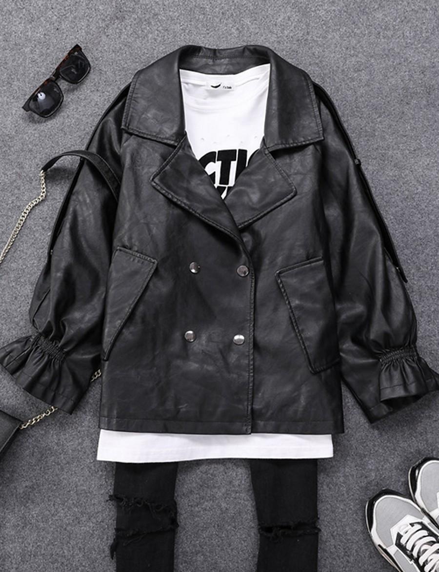 Women's Notch lapel collar Faux Leather Jacket Regular Solid Colored Daily Black Khaki Beige S M L