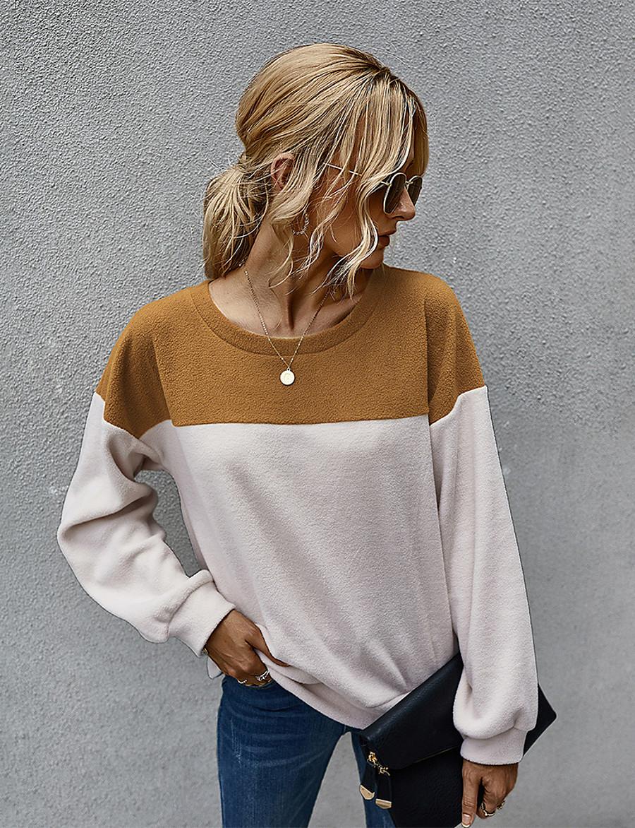 Women's Daily Pullover Sweatshirt Color Block Basic Hoodies Sweatshirts  Loose Light gray Dark Gray Brown