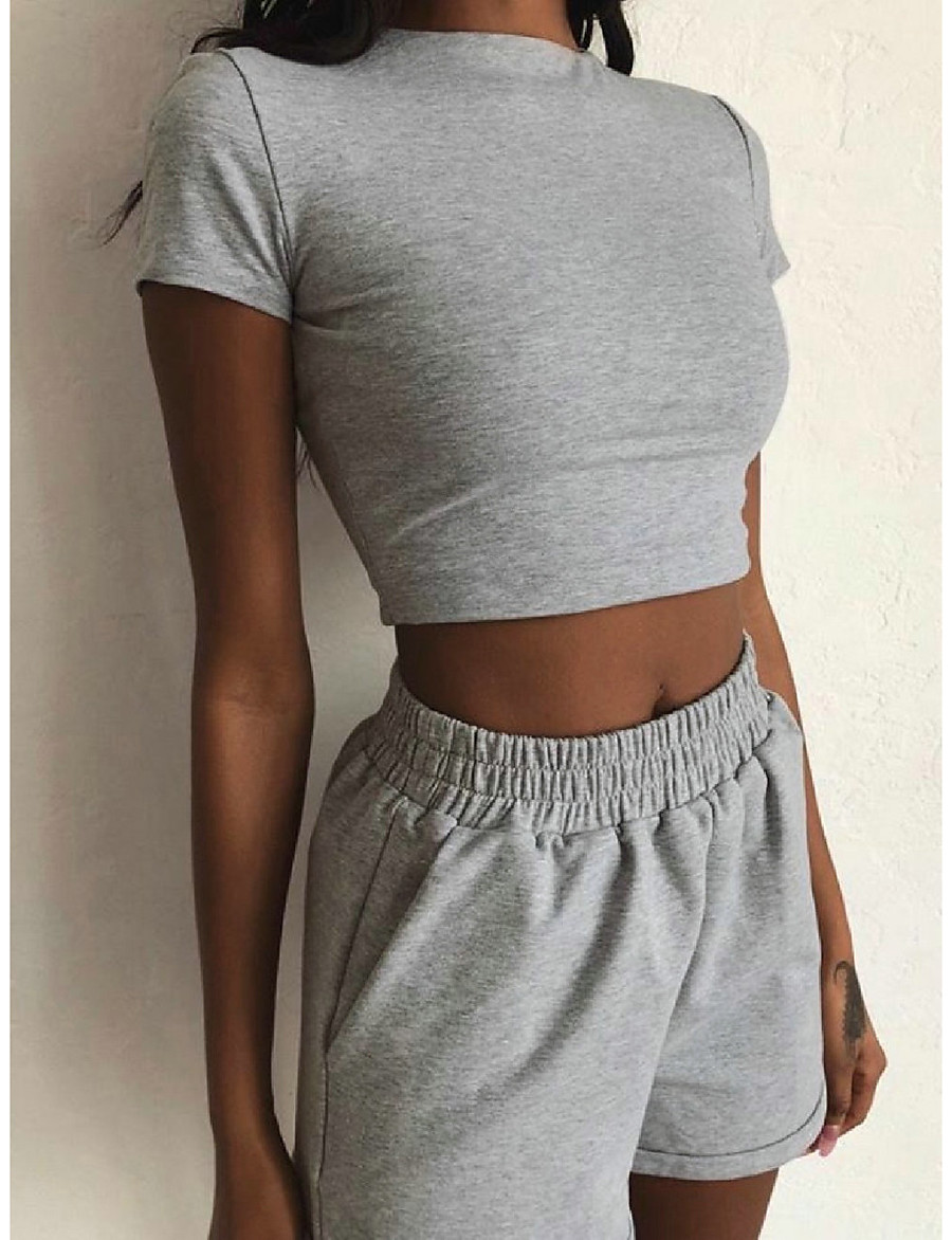 Women's Basic Solid Colored Two Piece Set Set Pant Tops / Short