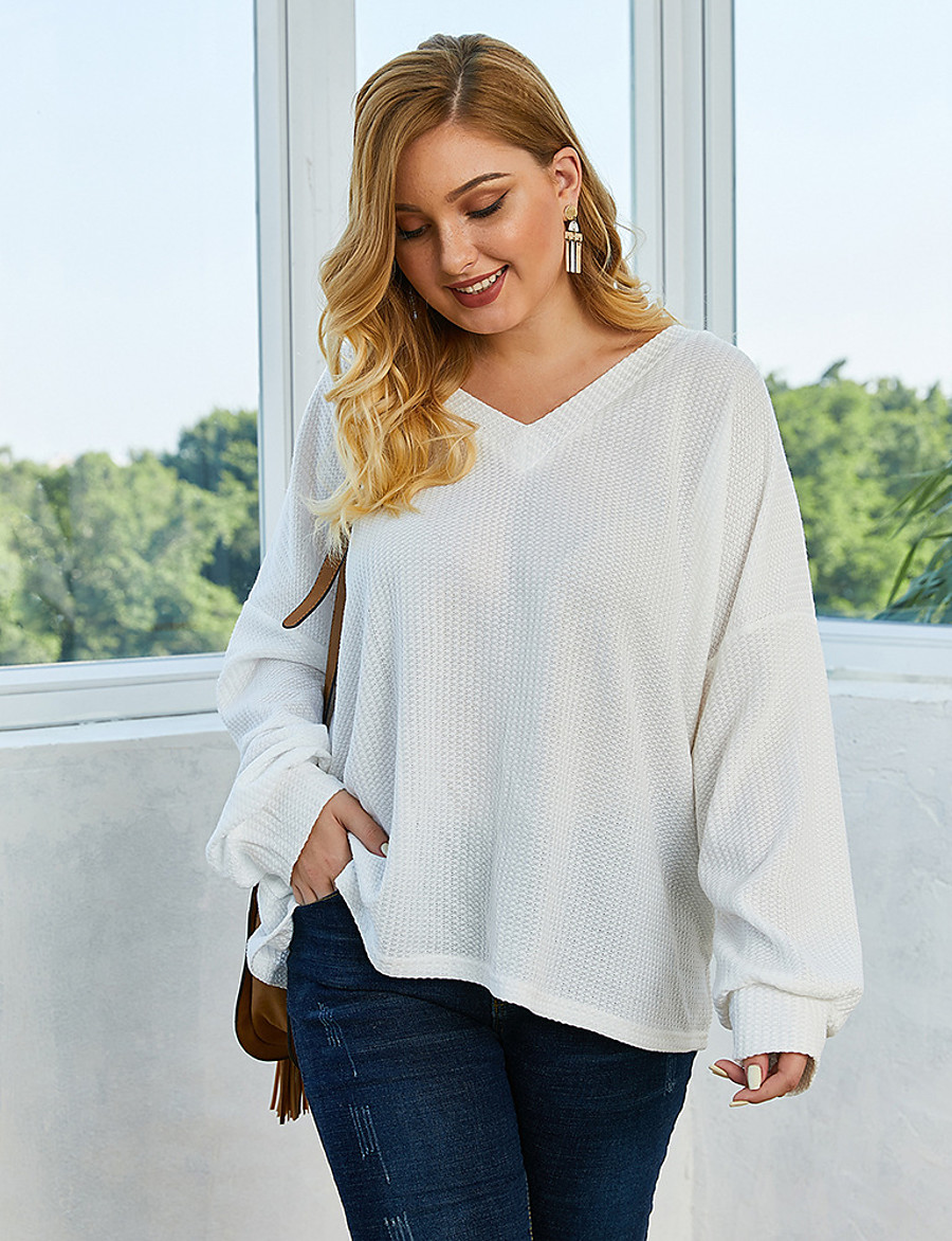 Women's Solid Colored Pullover Long Sleeve Plus Size Loose Sweater Cardigans V Neck Fall Winter White