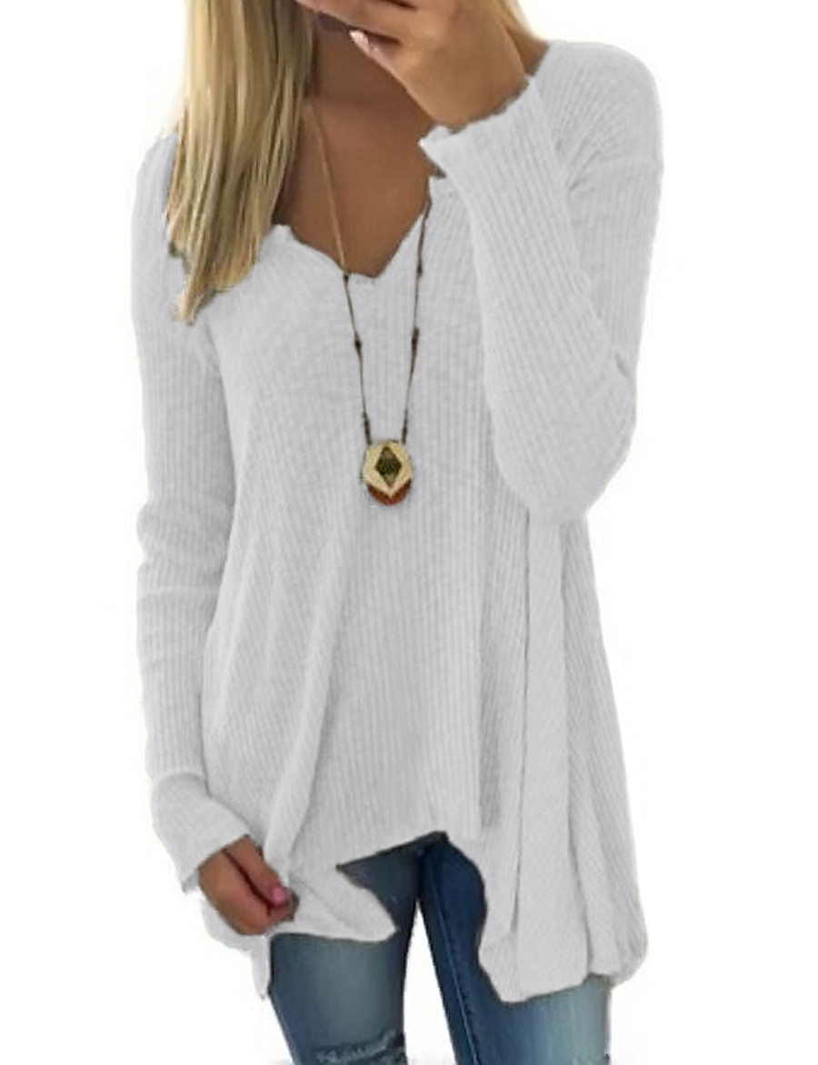 Women's Casual Solid Colored Pullover Long Sleeve Long Sweater Cardigans Deep V Spring Fall White Black Blue