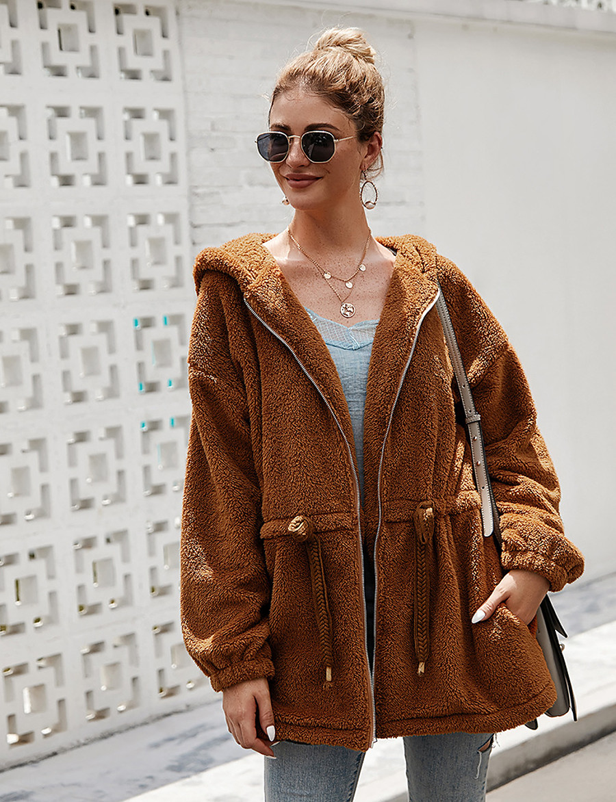 Women's Zipper Teddy Coat Long Solid Colored Daily Basic Brown S M L