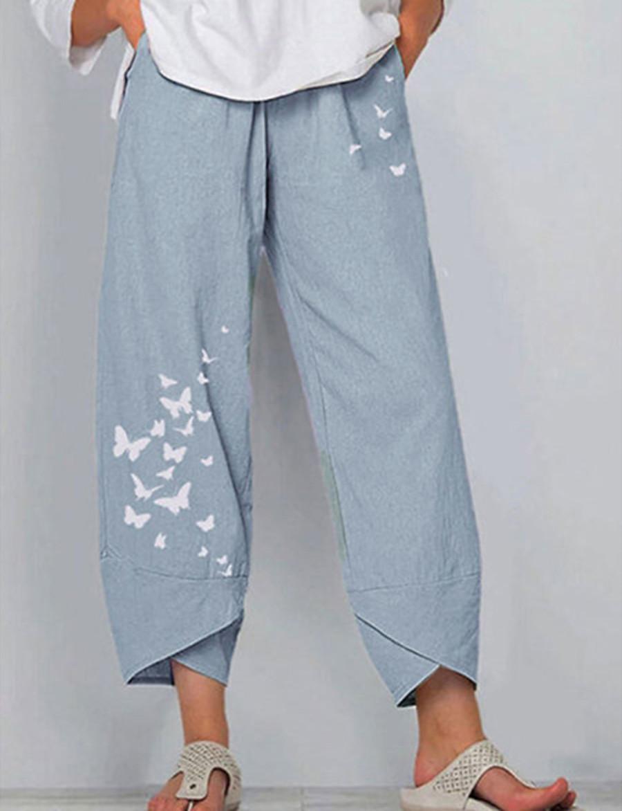 Femme Ample Chino Pantalon Avec motifs Toute la longueur Bleu Vert Gris