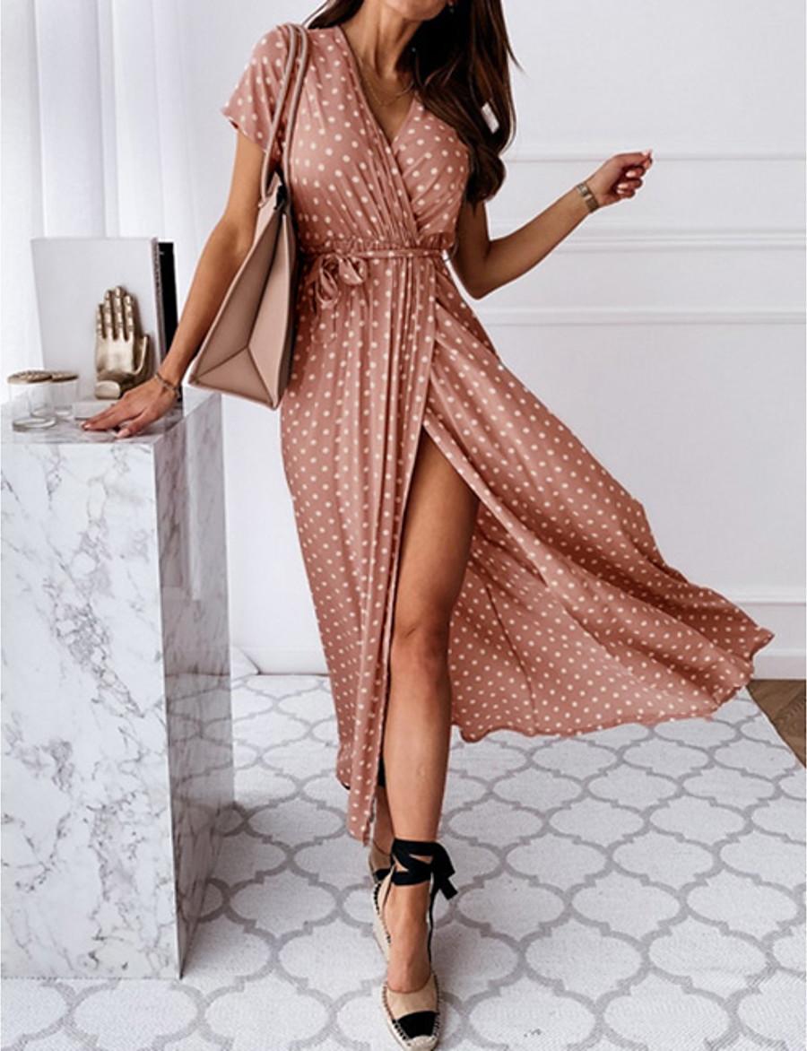 Women's Wrap Dress Maxi long Dress Blue Blushing Pink Dark Green Gray Black Short Sleeve Polka Dot Split Print Spring Summer V Neck Hot Casual Sexy 2021 S M L XL XXL 3XL