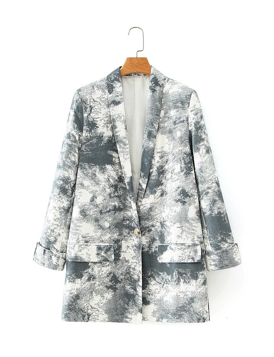 Women's Shawl Lapel Blazer Tie Dye Gray S / M / L