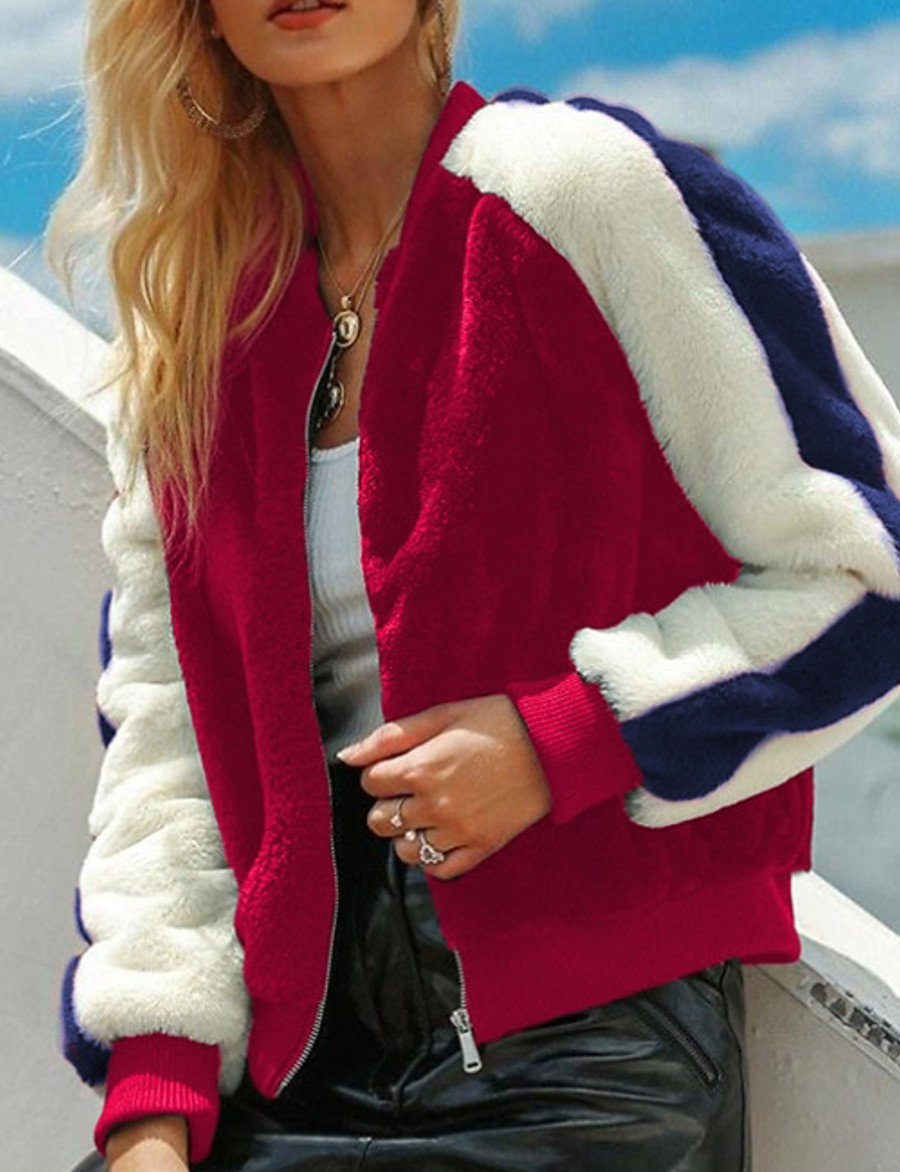 Women's Spring Stand Collar Faux Fur Coat Regular Color Block Daily Red Royal Blue S M L XL