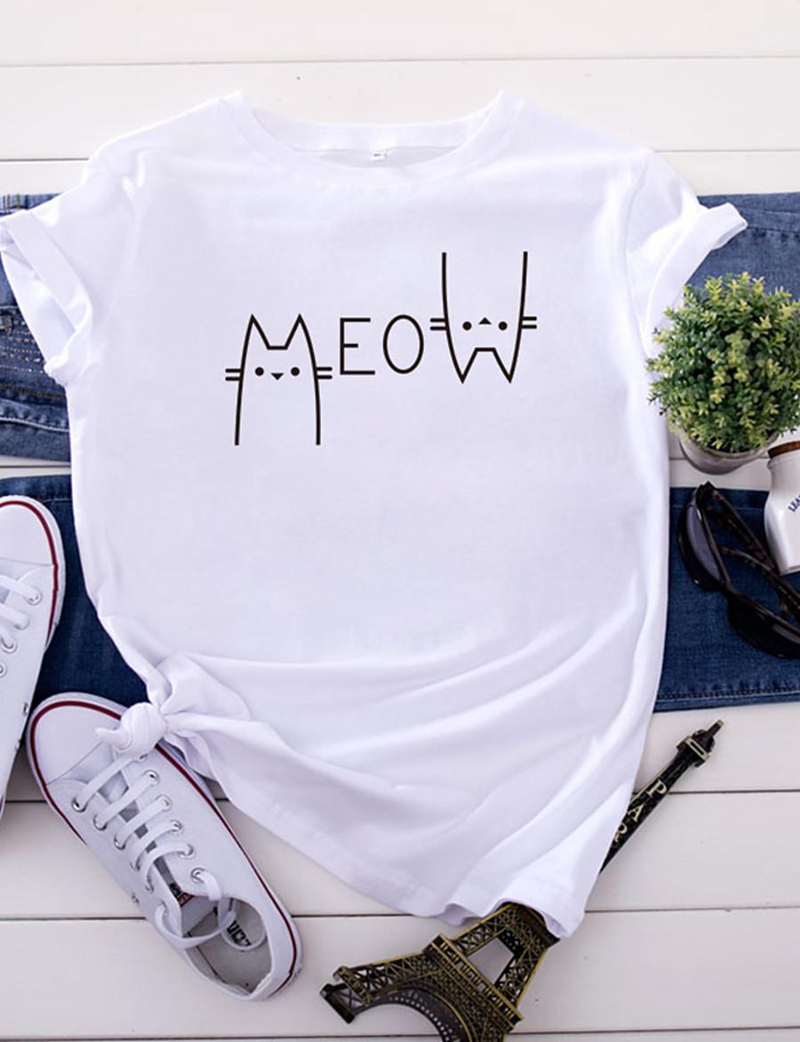 Women's T-shirt Letter Print Round Neck Tops 100% Cotton Basic Basic Top White Yellow Blushing Pink