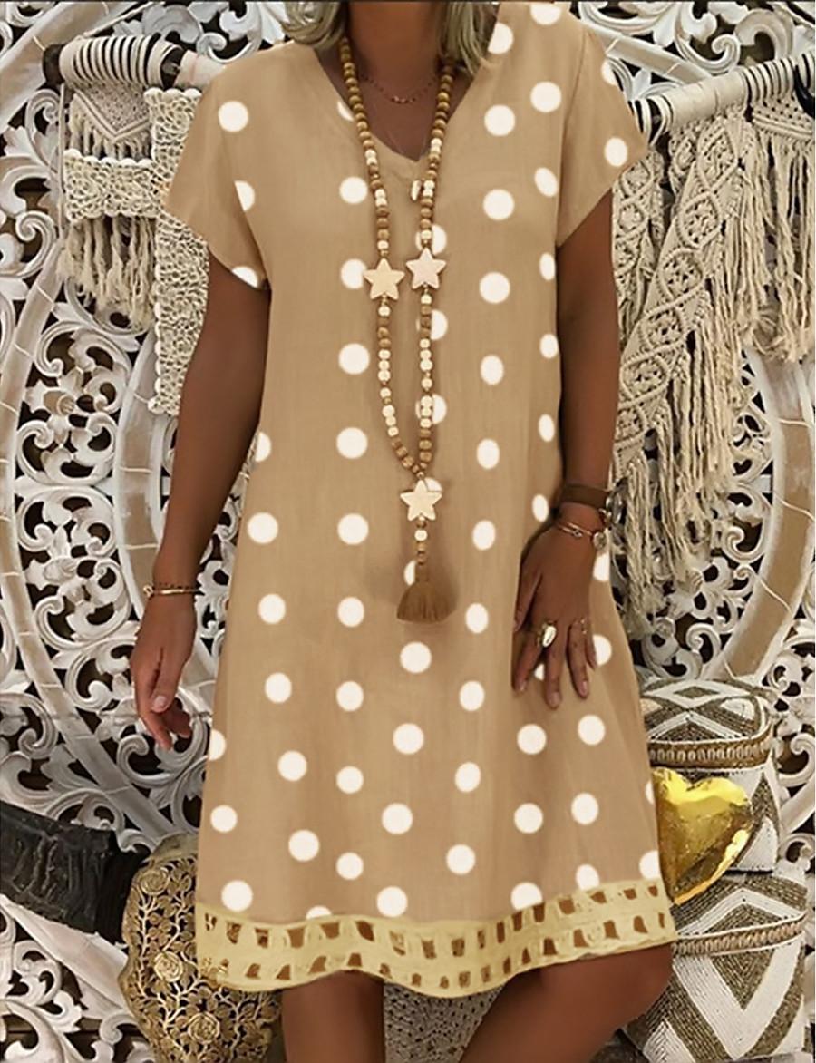 Women's Shift Dress Knee Length Dress - Short Sleeve Polka Dot Print Summer V Neck Plus Size Casual Holiday 2020 Black Blue Red Yellow Orange Khaki Green Gray S M L XL XXL 3XL 4XL 5XL