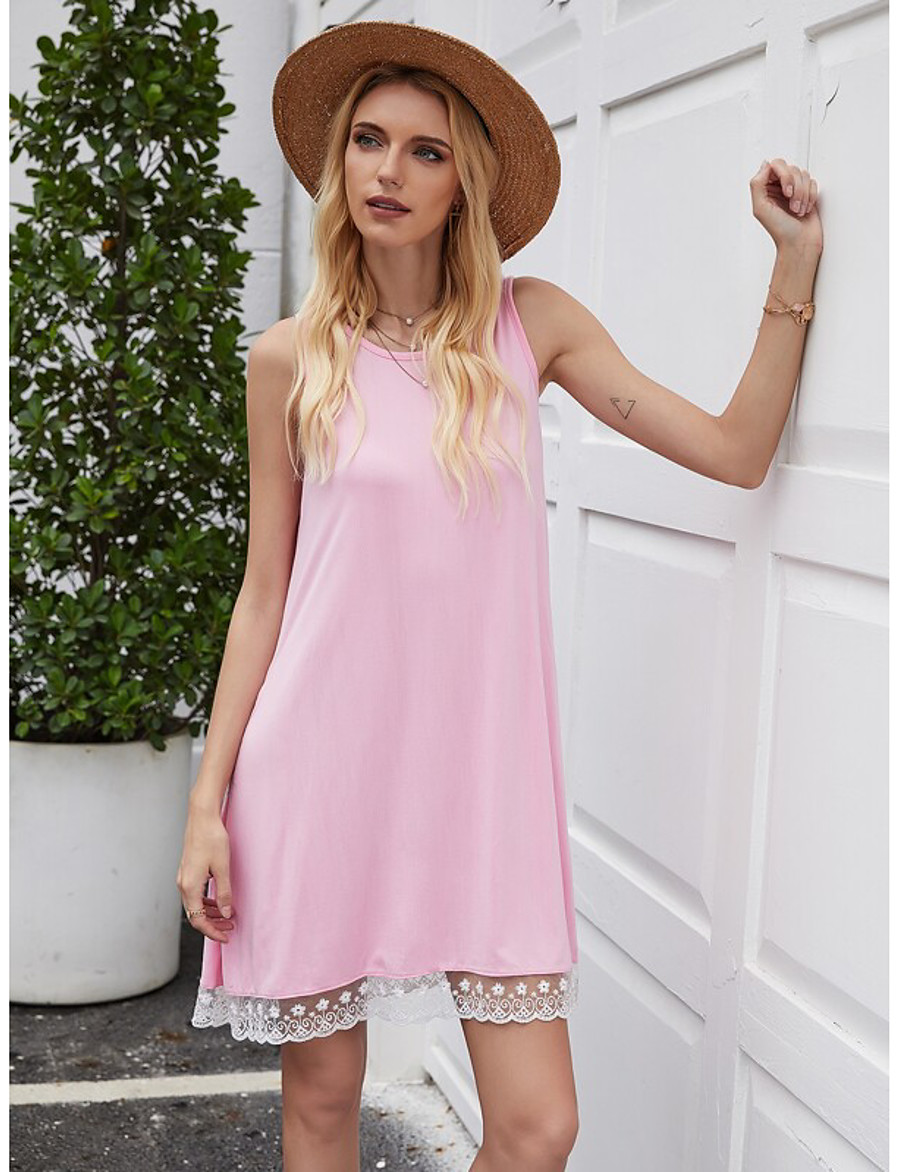 Women's Sundress Short Mini Dress - Sleeveless Summer Casual 2020 Black Blue Purple Red Blushing Pink S M L XL XXL