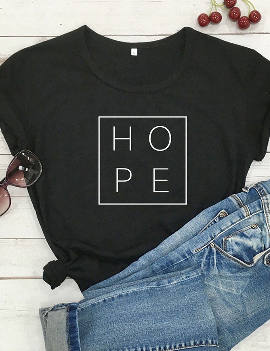 Women's T-shirt Graphic Prints Letter Print Round Neck Tops 100% Cotton Basic Basic Top White Black Purple