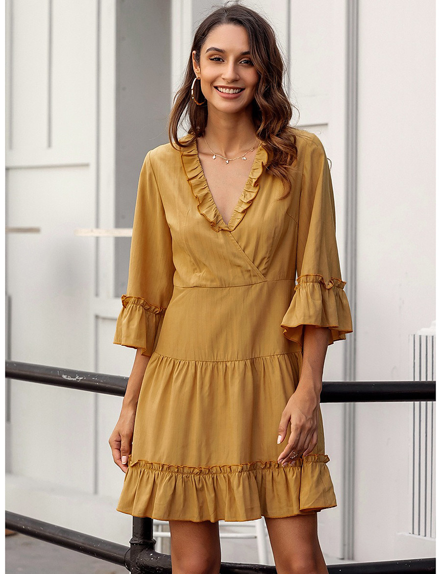 Women's A-Line Dress Knee Length Dress - 3/4 Length Sleeve Solid Color Ruffle Zipper Spring Fall V Neck Casual Holiday Flare Cuff Sleeve Slim 2020 Yellow S M L XL