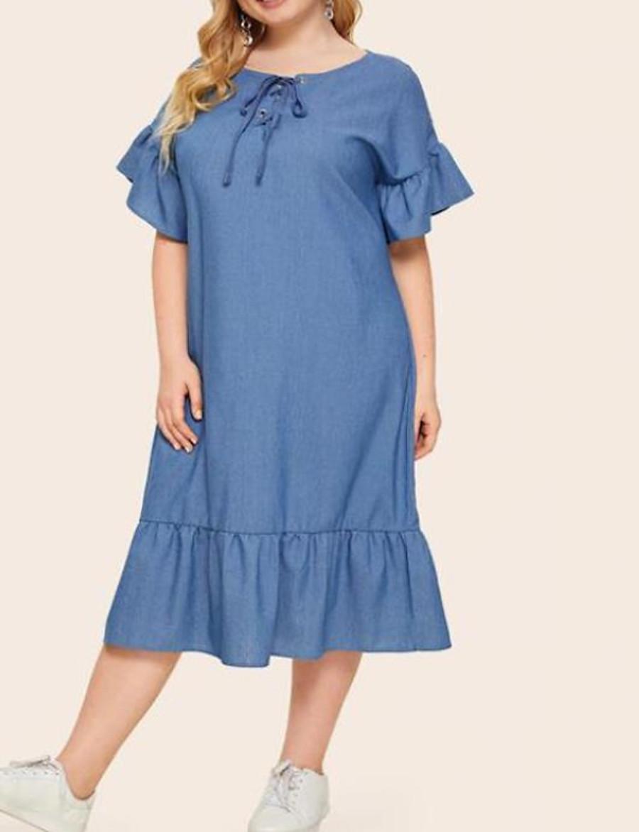 Women's A-Line Dress Midi Dress - Short Sleeve Solid Color Summer Plus Size Casual Loose 2020 Blue XL XXL 3XL 4XL