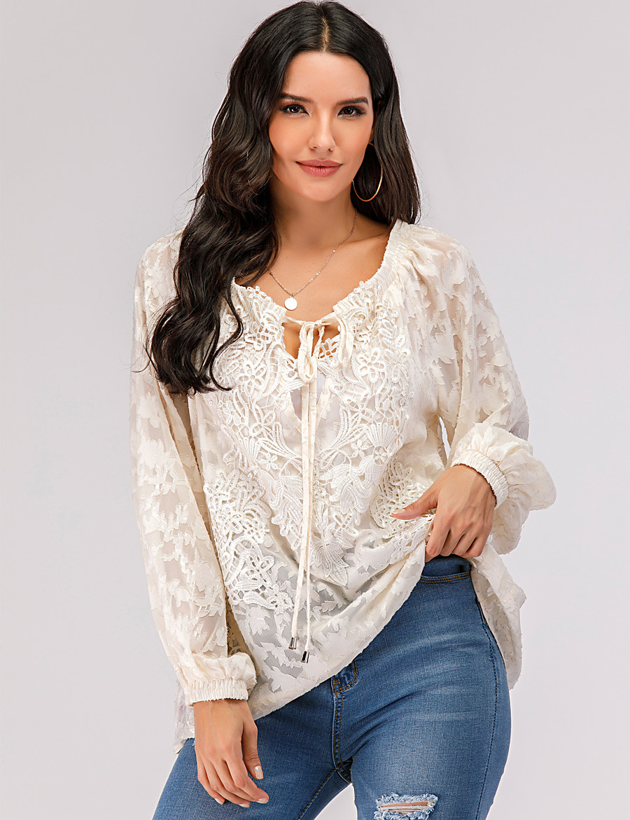 Women's T-shirt Solid Colored Long Sleeve Lace Embroidery Hollow Out V Neck Tops Lace Basic Top Beige
