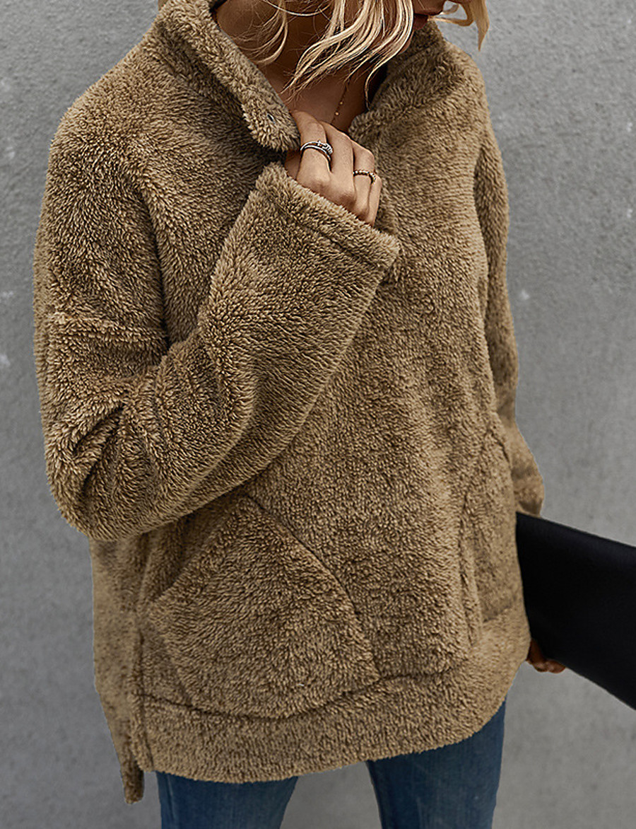 Women's Pullover Sweatshirt Solid Colored Daily Basic Hoodies Sweatshirts  Army Green Brown Beige