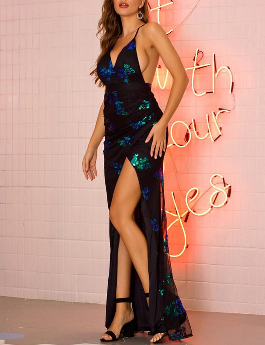 Women's Strap Dress Maxi long Dress - Sleeveless Backless Sequins Split Summer V Neck Sexy 2020 Black Gold Green S M L XL