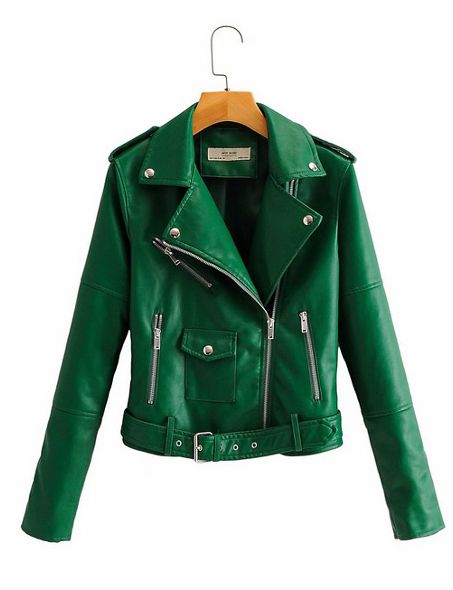 Women's Faux Leather Jacket Short Solid Colored Daily Black Blushing Pink Green Beige S M L XL