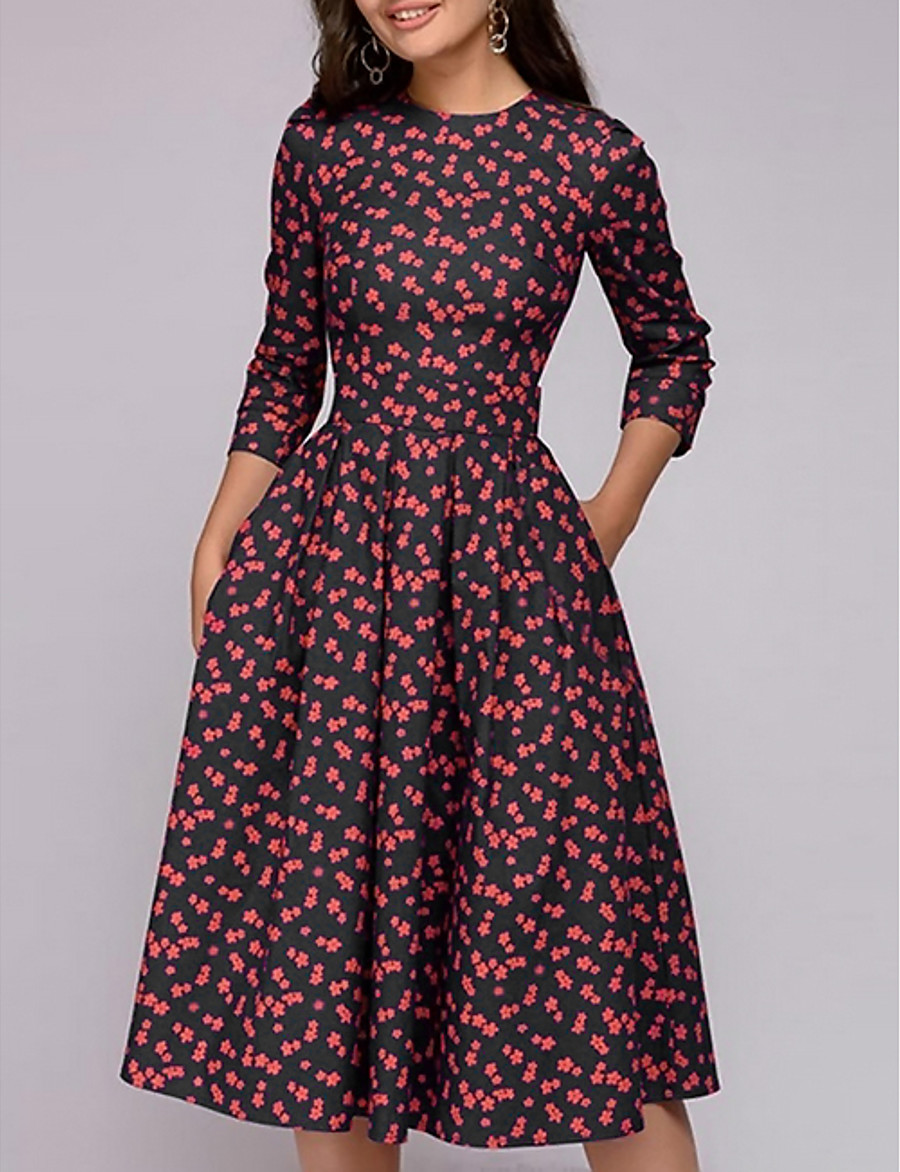 Women's A-Line Dress Midi Dress - 3/4 Length Sleeve Floral Print Spring Going out Red S M L XL XXL